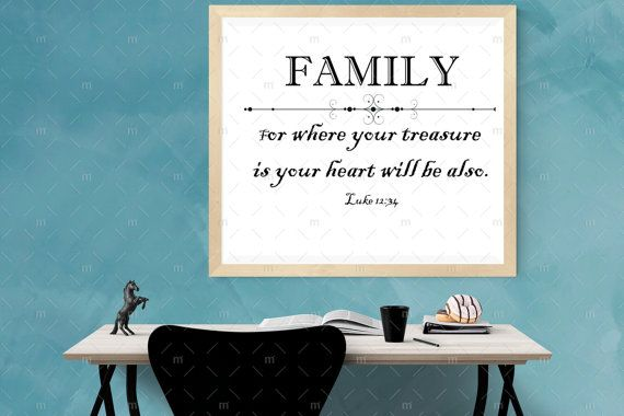 Black And White, Family Quotes Art, Printable Art, Bible Versethe