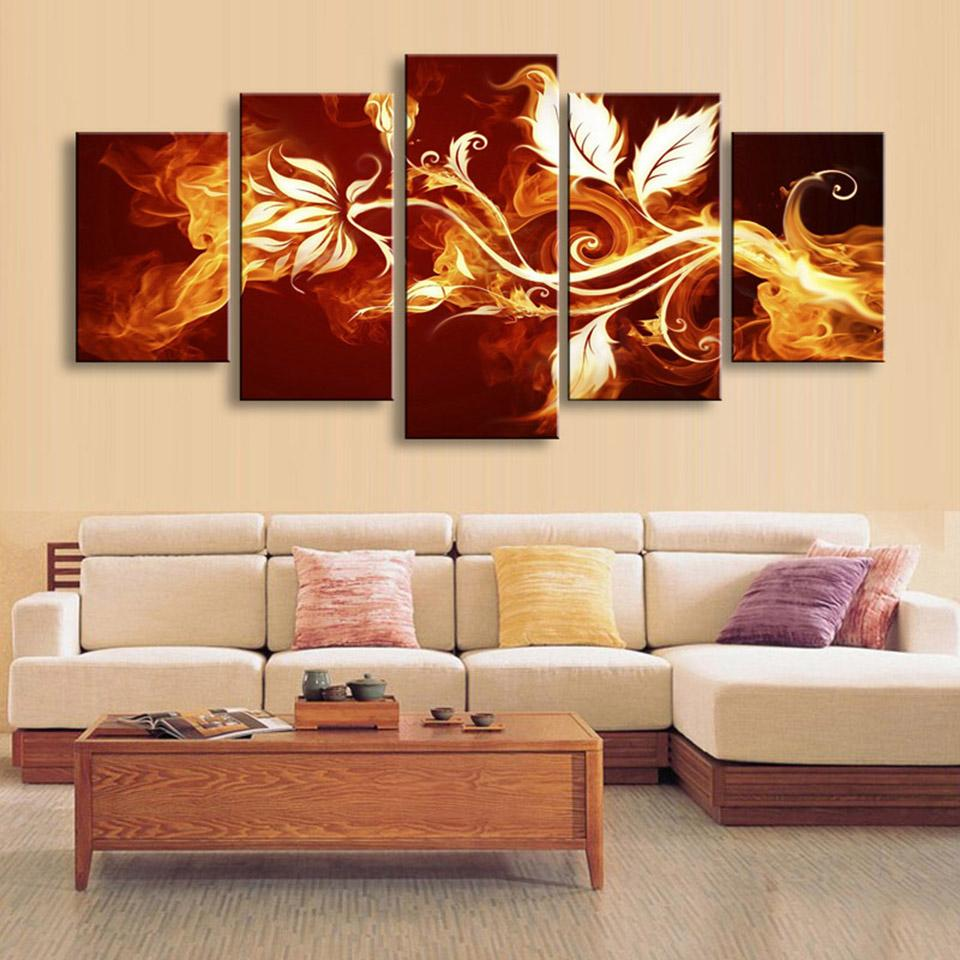 5 Panel Fire Flowers Picture Framework Living Room Canvas Panel