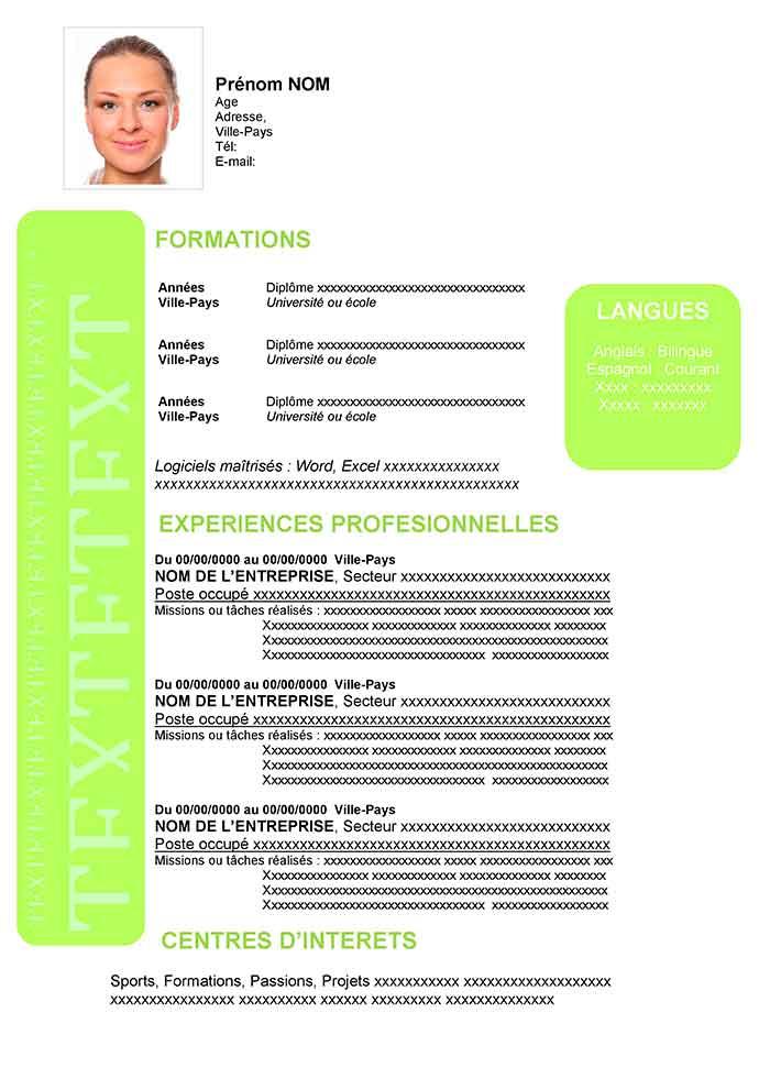 Exemple De Cv En Francais A Telecharger Gratuit Cv Word