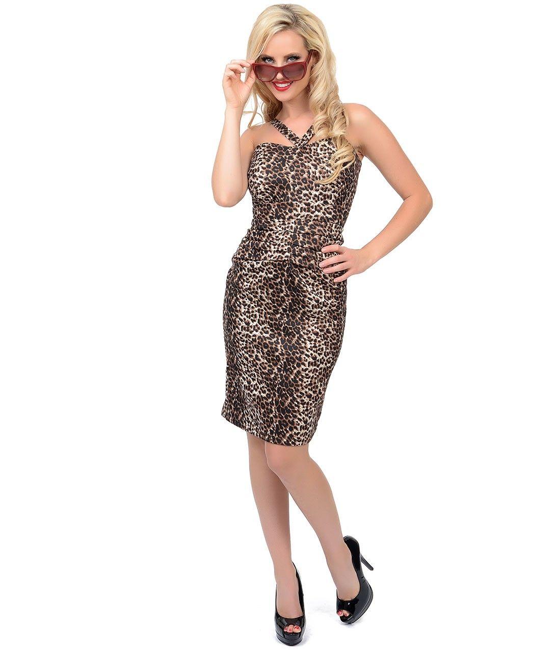 A ravishingly retro inspired leopard pencil dress uniquevintage