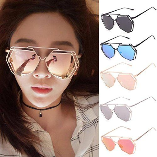 2c95cedaee ABC® Twin-Beams Geometry Design Women Metal Frame Mirror Sunglasses Cat Eye  Glasses - Review