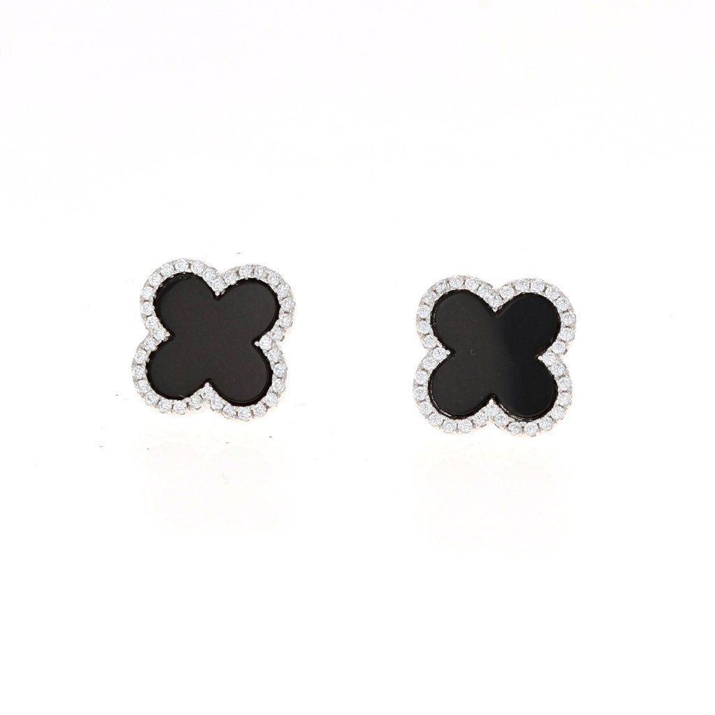 3eeddce0f Onyx Clover Earrings in Sterling Silver #alexandramarksjewelry  #onyxearrings #cloverearrings #cloverjewelry #studearrings #classicearrings  #giftforher # ...