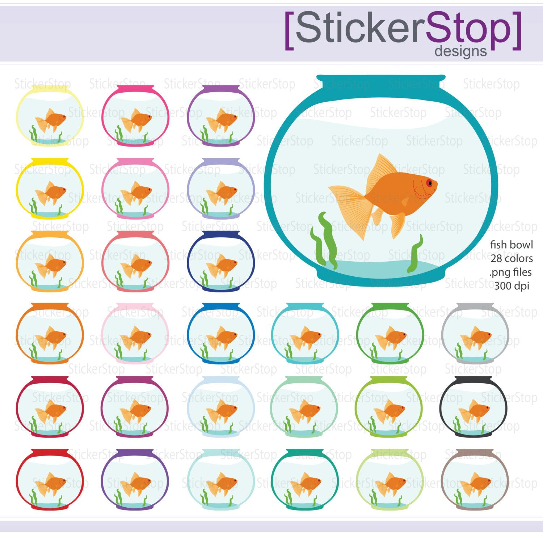Goldfish Bowl Digital Clipart Fish Bowl Digital Clipart Instant