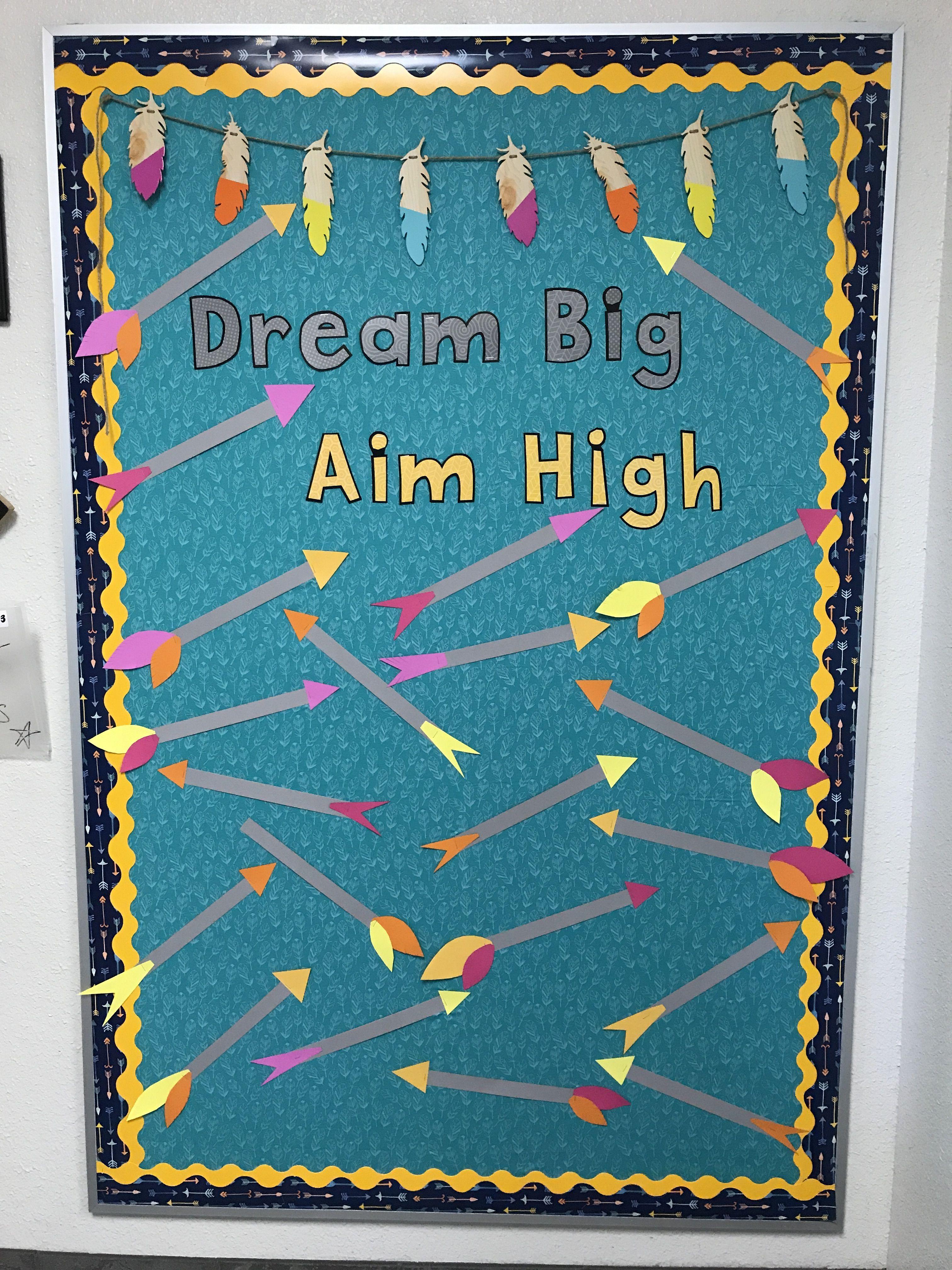 """Dream Big Aim High"""" Third Grade Back to School Arrow Bulletin Board"""