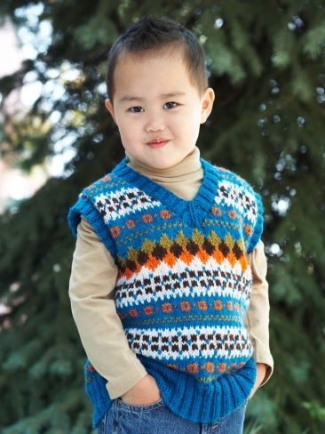 Child's V-Neck Fair Isle Vest | Yarn | Free Knitting Patterns ...