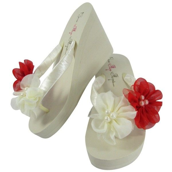 9d3bbc9509d8ec Ivory Red 3.5 inch Wedge Flip Flops with Chiffon Pearl Flowers ...