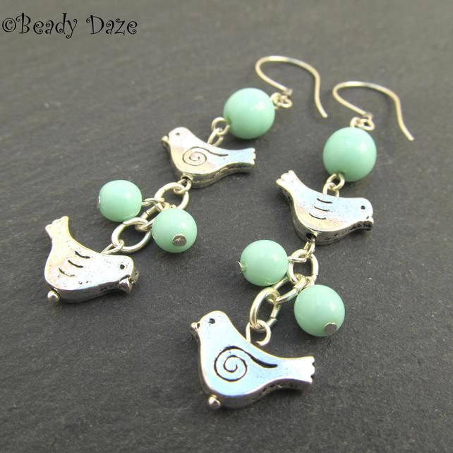 Tweetie Daze silver bird and Czech bead earrings