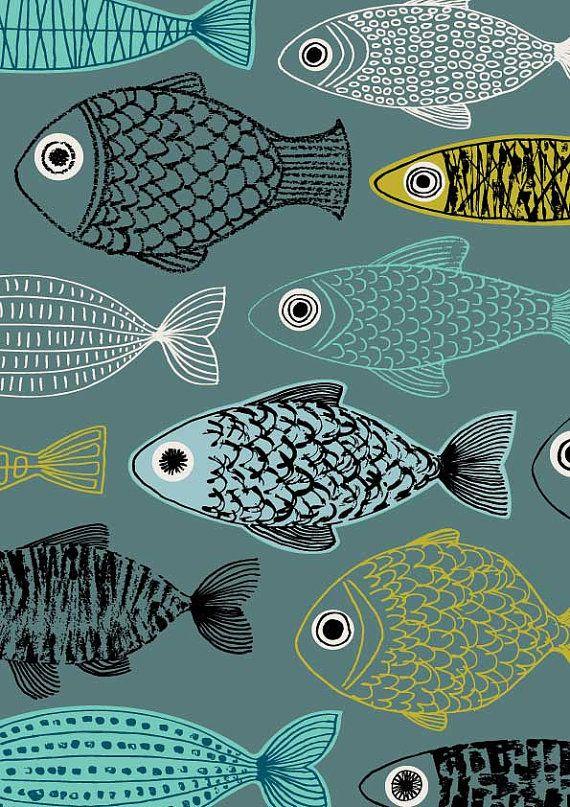 Blue Fish limited edition giclee print di EloiseRenouf su Etsy, $35.00