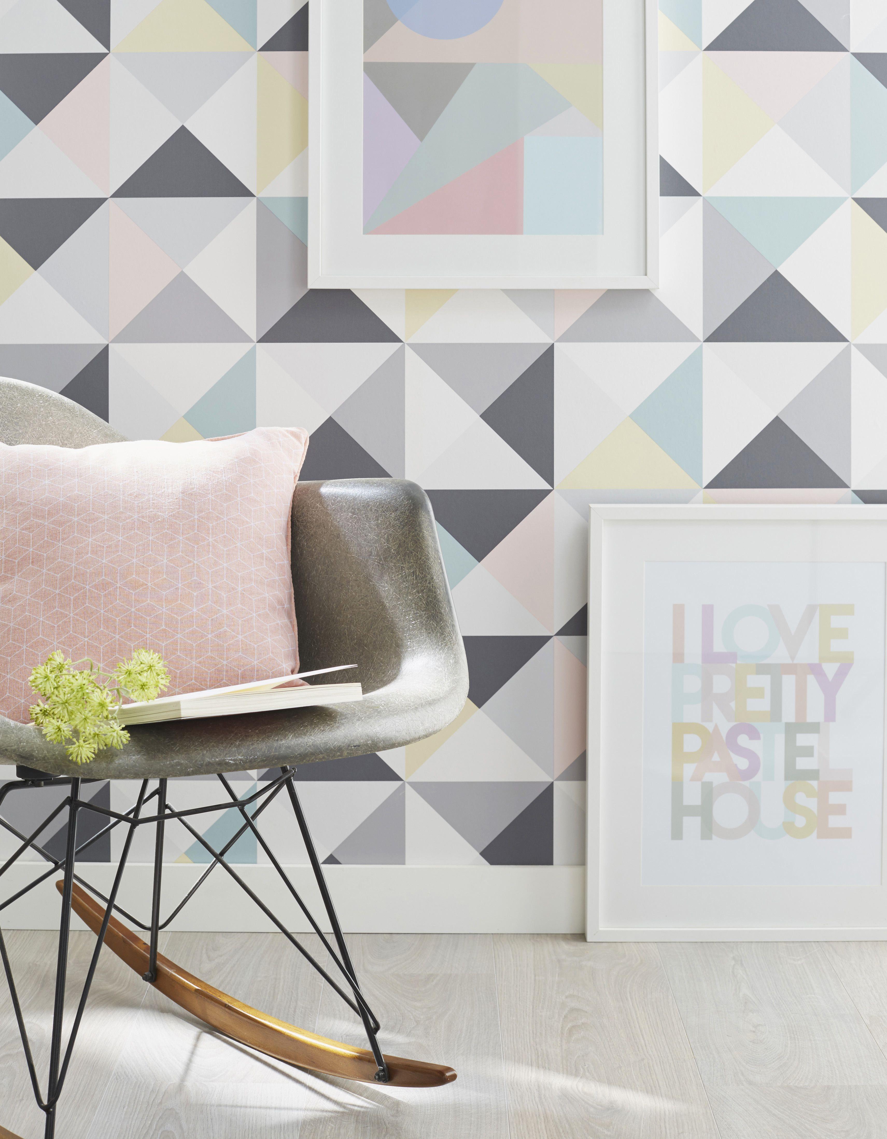 Papier peint papier Polygone multicouleur leroymerlin papierpeint wallpaper multicolore tendance