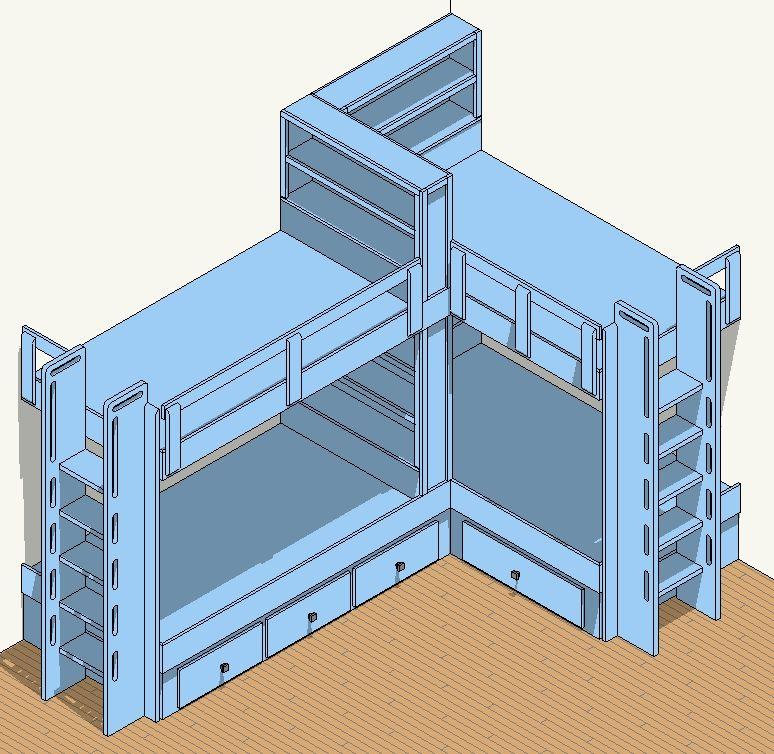 Best Built In Bunk Bed Plans 4 Bed Corner Plan Corner Bunk 640 x 480