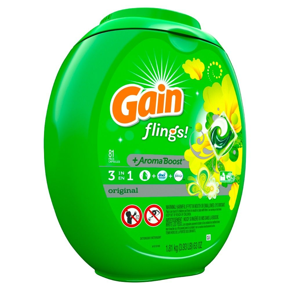 Gain Flings Original Scented Laundry Detergent Pacs 81ct With