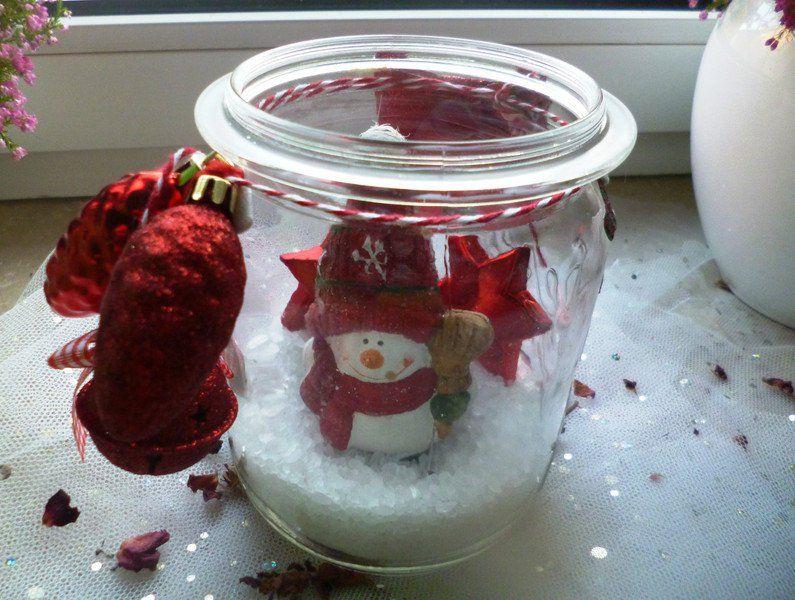 weihnachtsdeko schneemann im glas ein designerst ck von rosettas laden bei dawanda. Black Bedroom Furniture Sets. Home Design Ideas