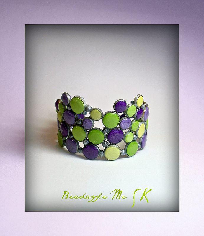 "100% polymer clay ""Circles"" bracelet...by artist Sherri Kellberg"