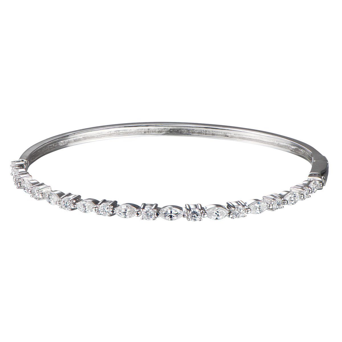 Idette's Round and Marquise Cut CZ Bangle Bracelet