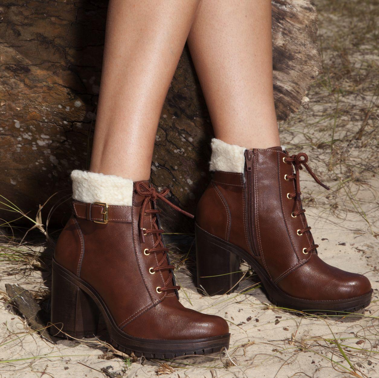 98fa99bfd2 botas de cano curto - coturno de salto alto - winter heels - marrom - boots…