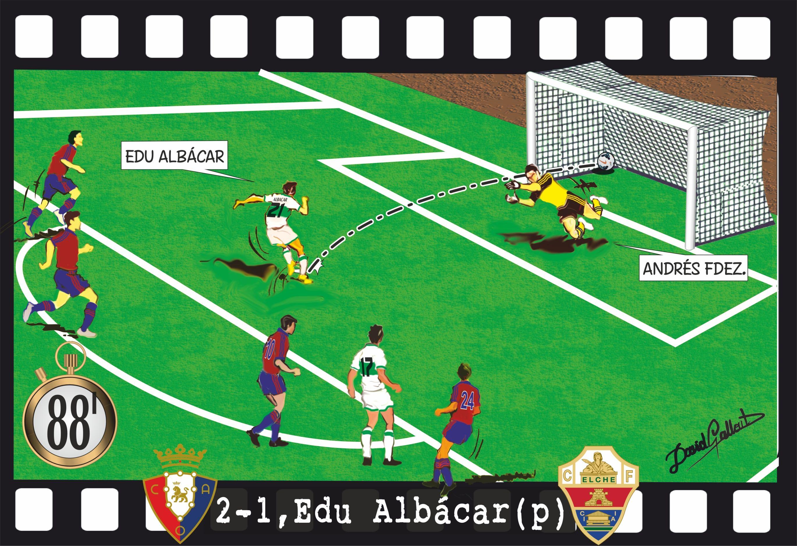 Osasuna - Elche, 2-1, Edu Albácar