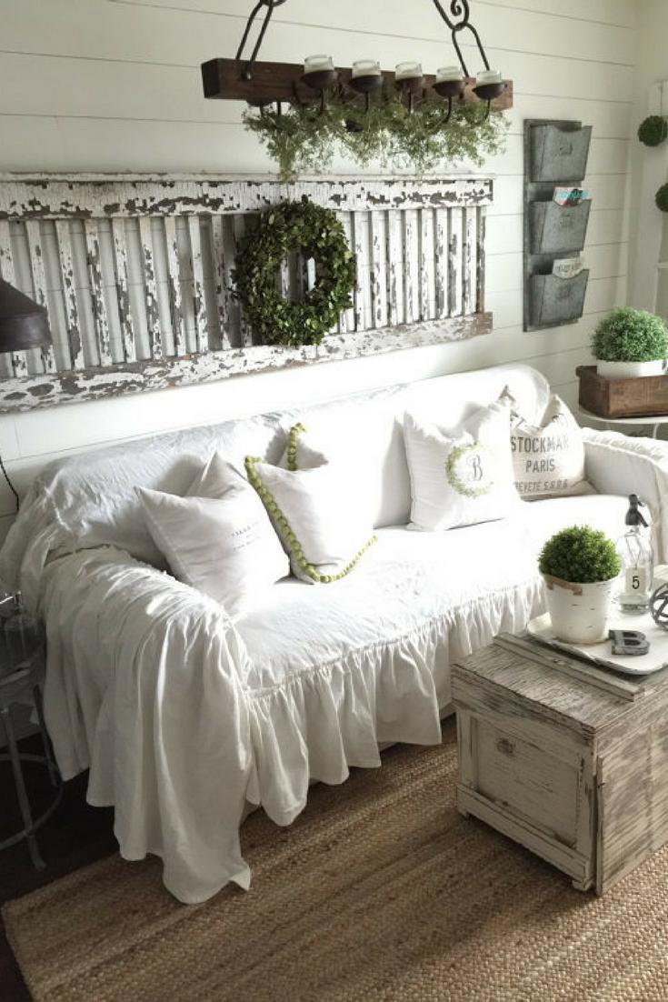 Sofa slipcoverruffled slipcovershabby chic decorcottage decor white slipcovercouch slipcover