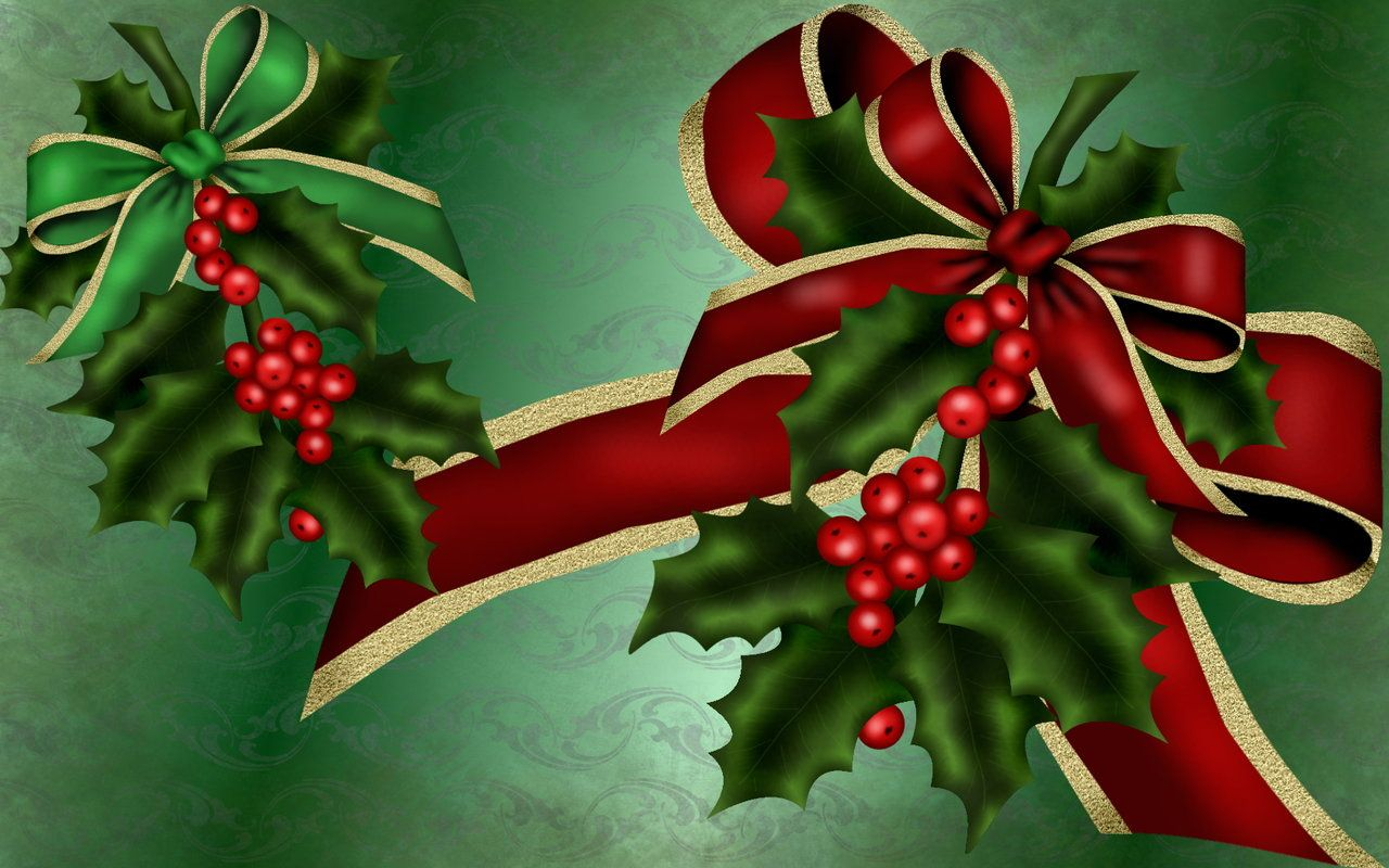 Bows And Holly Wallpaper By Kabegami Deviantart Com On Deviantart Christmas Tree Decorations Christmas Background Christmas