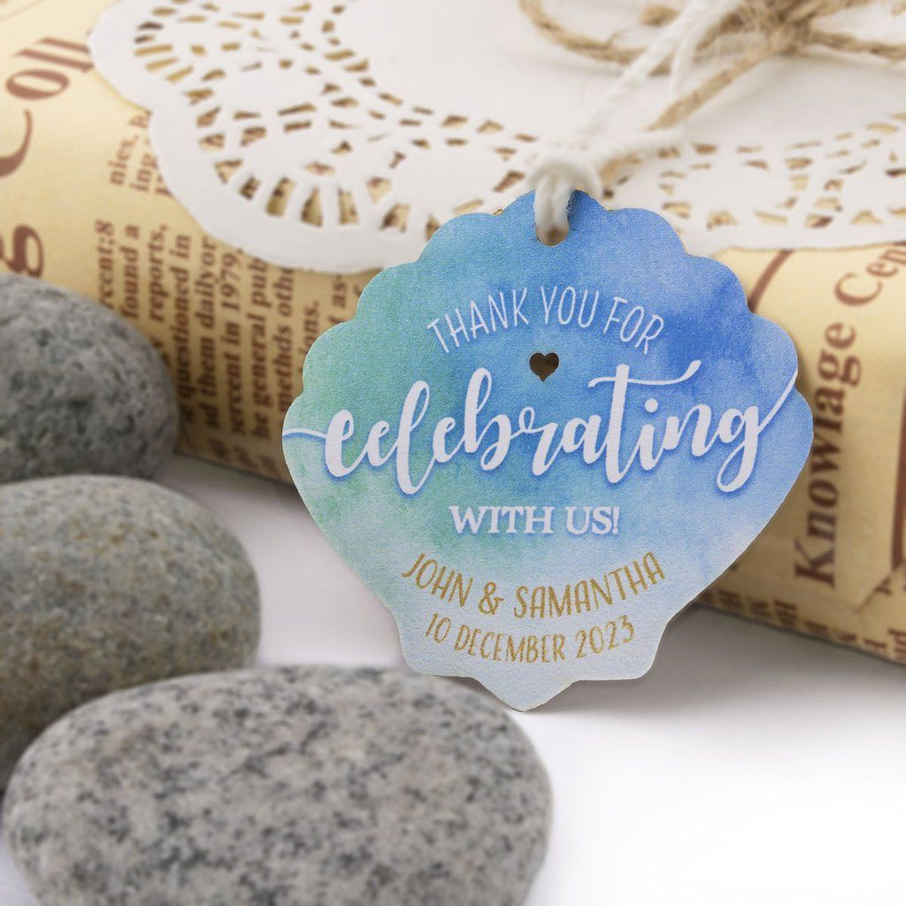 Personalized Beach Themed Wedding Seashell Thank You Favor Gift Tags In 2020 Beach Theme Wedding Wedding Themes Gift Tags