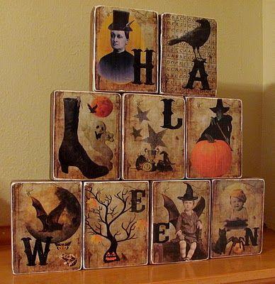 Wooden Halloween blocks