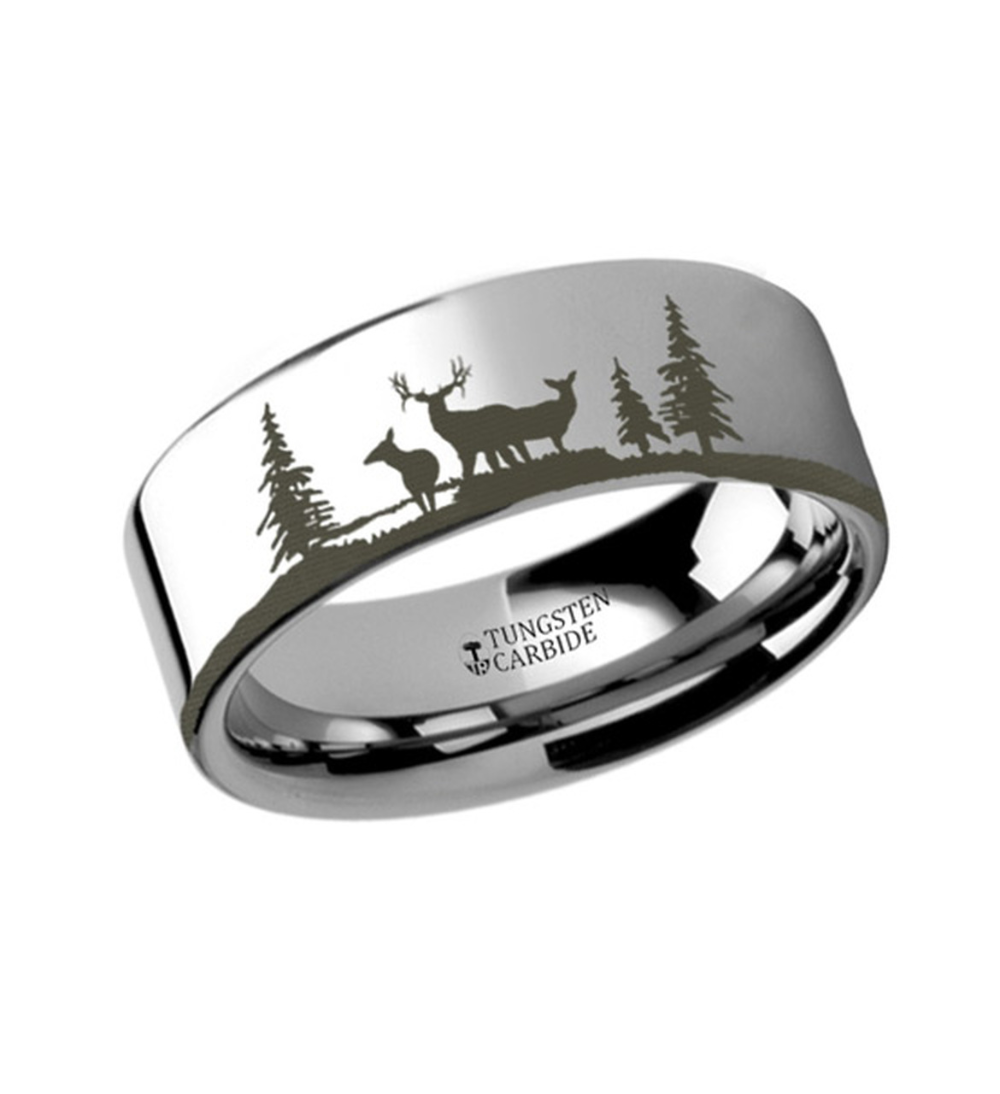Ring with Deer in Nature Tungsten 6mm 12mm Rings