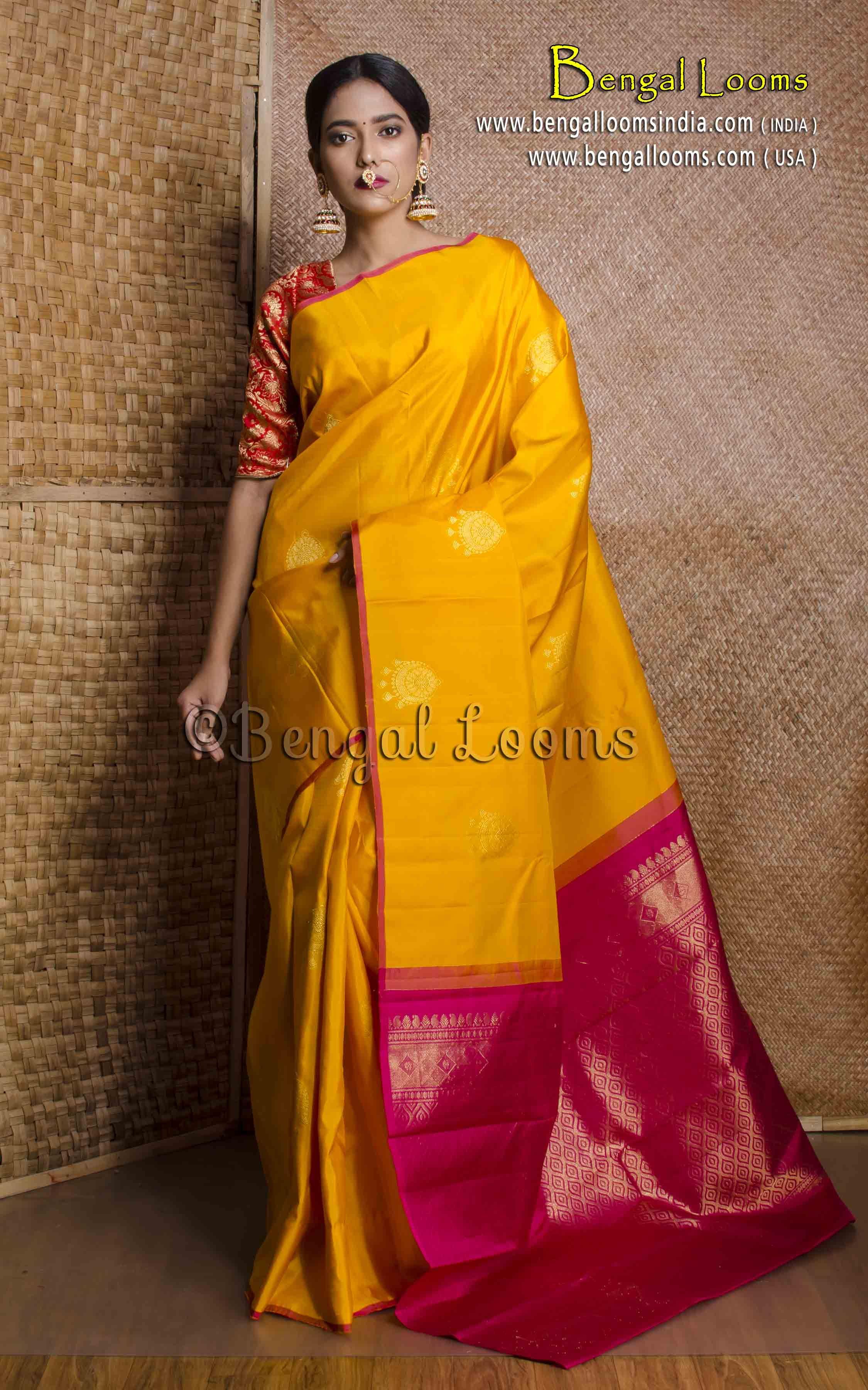b3a2c738f7305 Pure Handloom Kanjivaram Saree in Turmeric Yellow and Rani