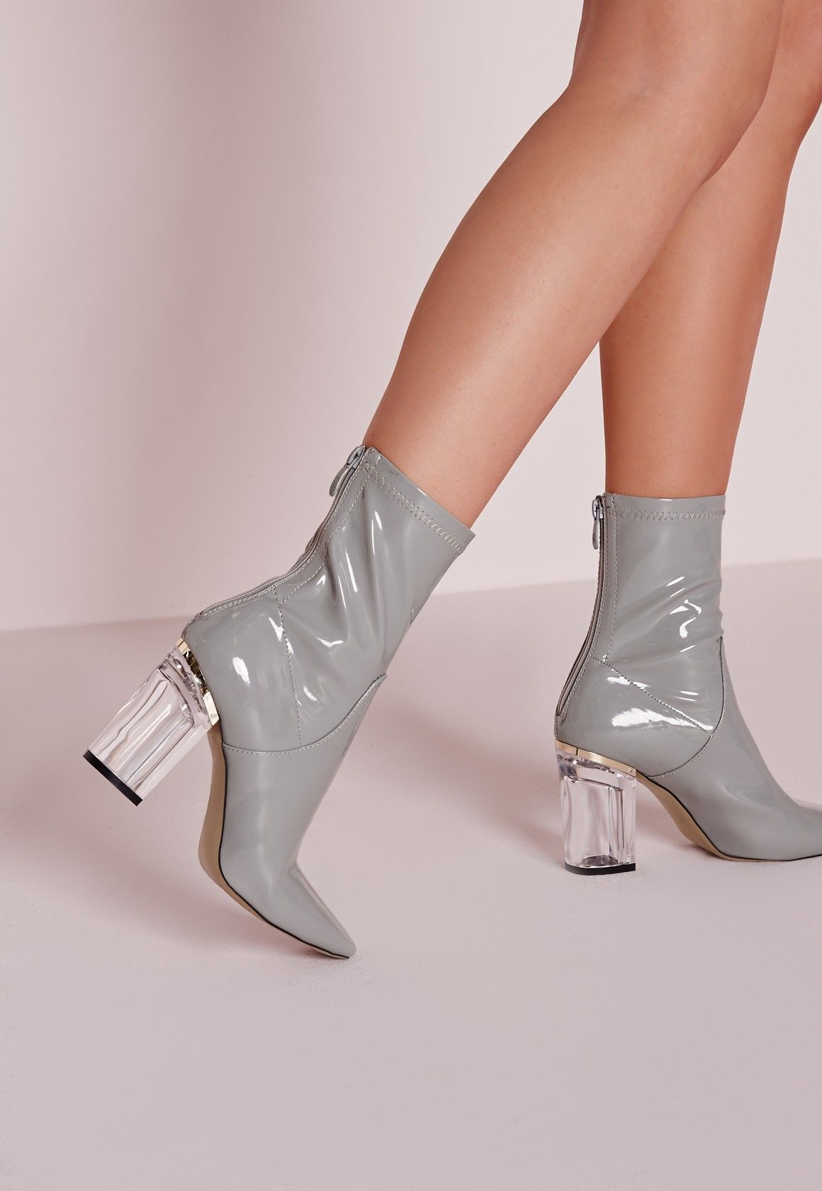 aeded095bb Missguided - Patent Ankle Boots Perspex Heel Grey | Shoesssss in ...