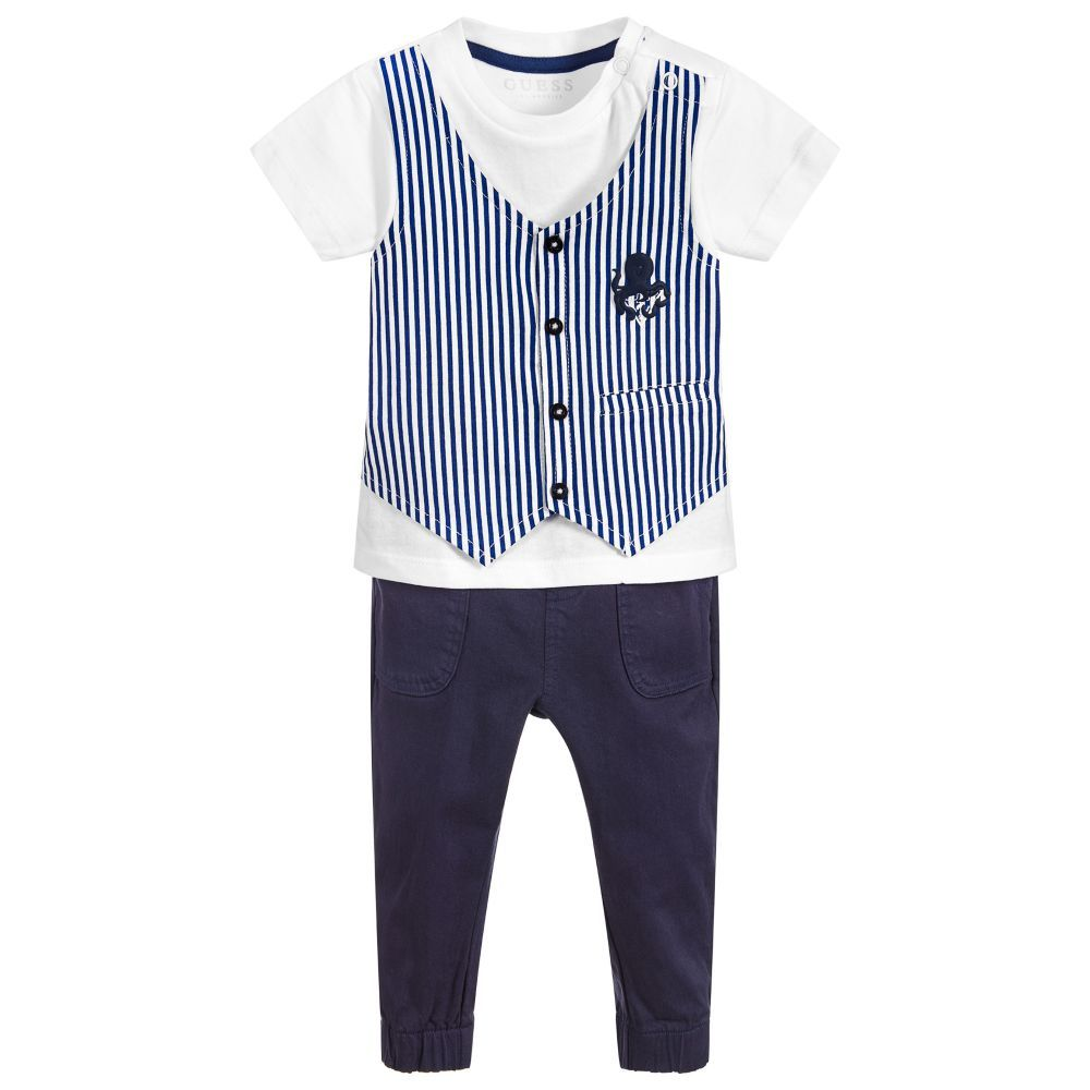 03152cb7ae A fun and comfortable outfit by Guess for baby boys. The white jersey top  has a blue striped waistcoat detail attached to the front, with a smiley  octopus ...
