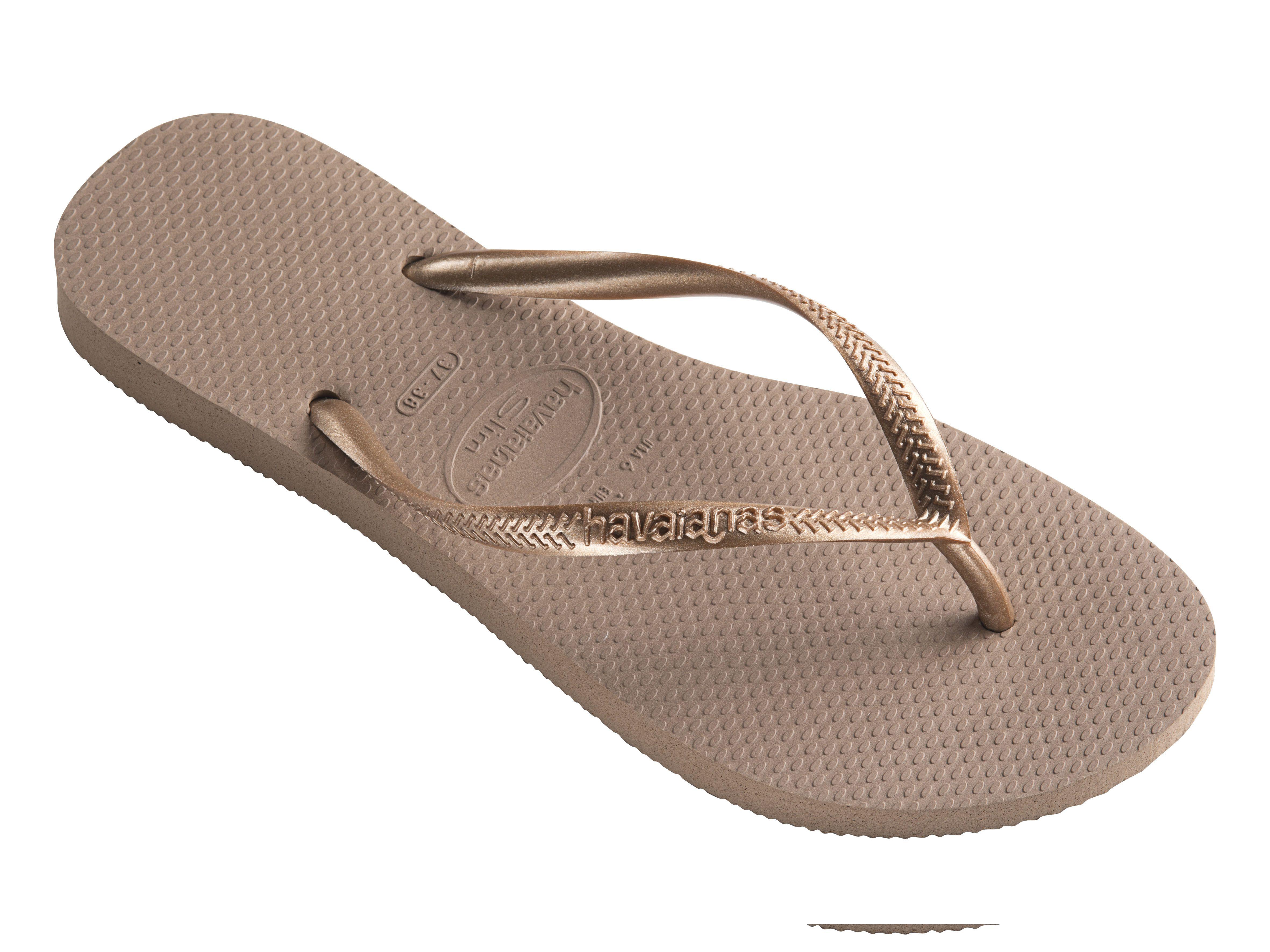 Womens Havaianas Slim You Metallic Flip Flops Rose Nude Sandals