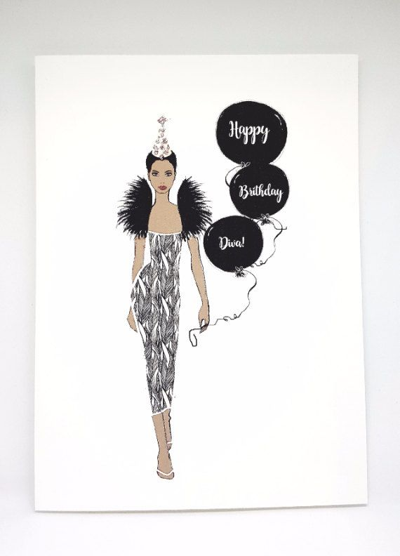 Birthday Card Diva Fashion Illustration