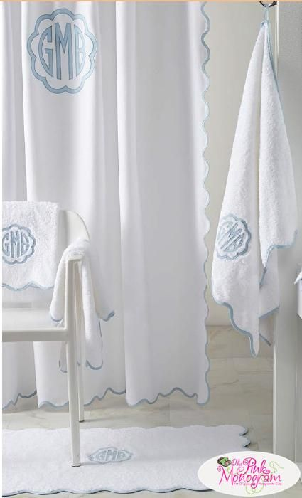 Matouk Monogrammed Le Scallop Shower Curtain Home Garden Bathroom Accessories Curtains