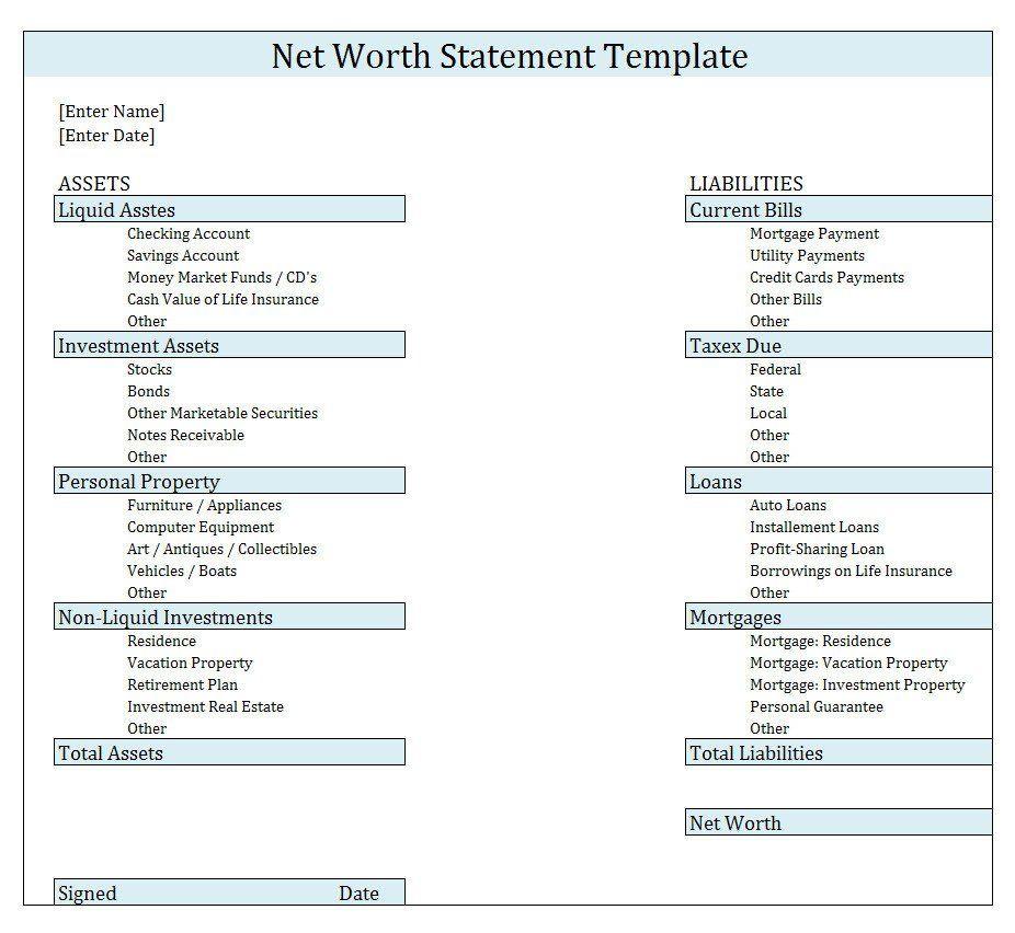 Statement Of Net Worth Template Beautiful Buy original