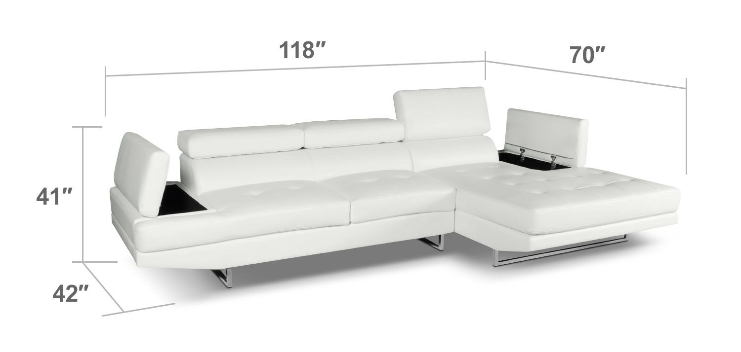 Modern Profile The Sleek Modern Design Of The Zamora Sectional Sofa In White Is Low Profile Versatile And Offers Plenty Of Room For Lo Living Room Necessities Furniture Living Furniture