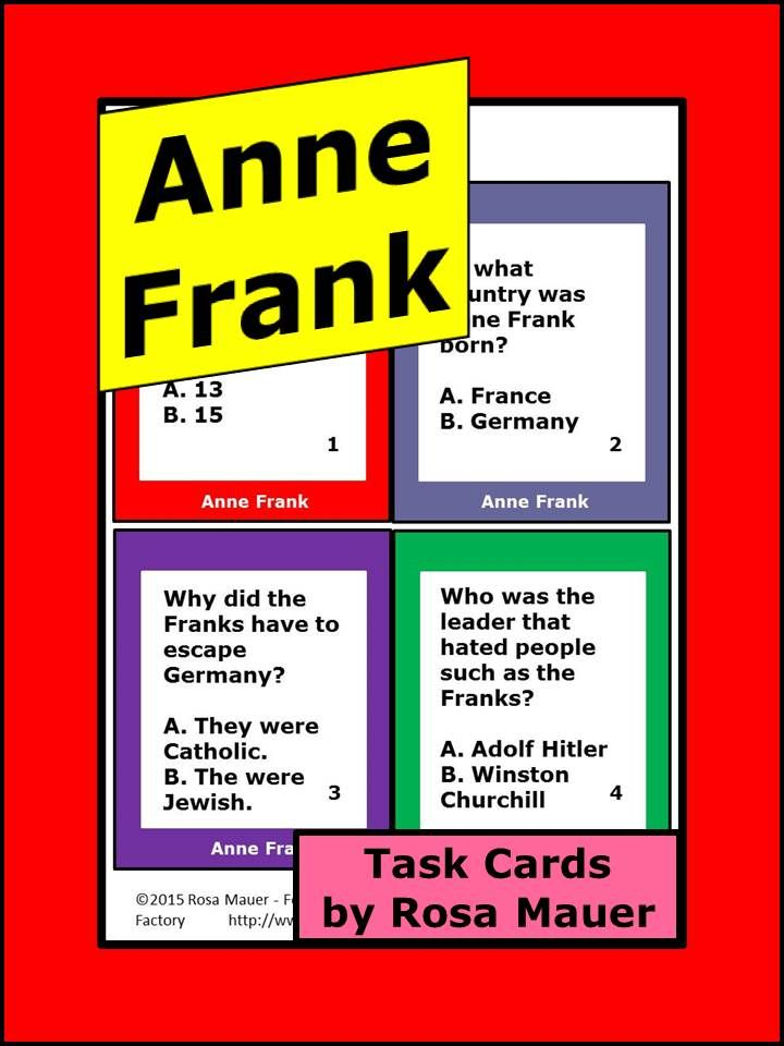 Who Was Anne Frank? Task Cards | Rosa's State Facts and ...