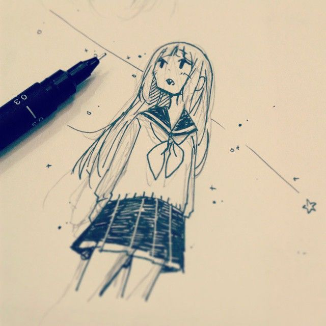 Looking Up Try Cool Drawings Fineliner Art Anime Artwork
