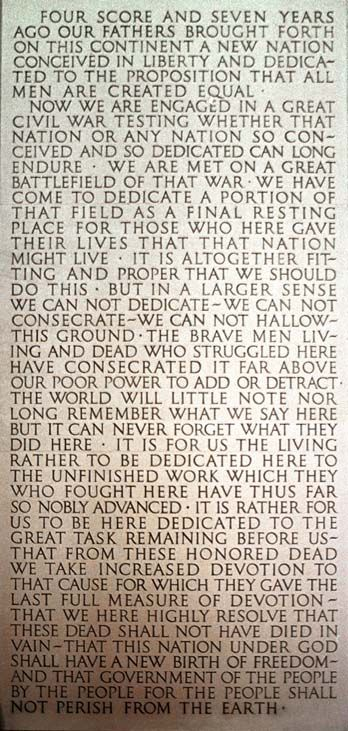 The Gettysburg Address, etched into the wall of the Lincoln Memorial, D.C.