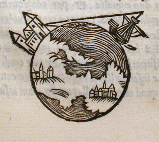 Dibujo de una edicin de 1550 de De sphaera mundi el libro de