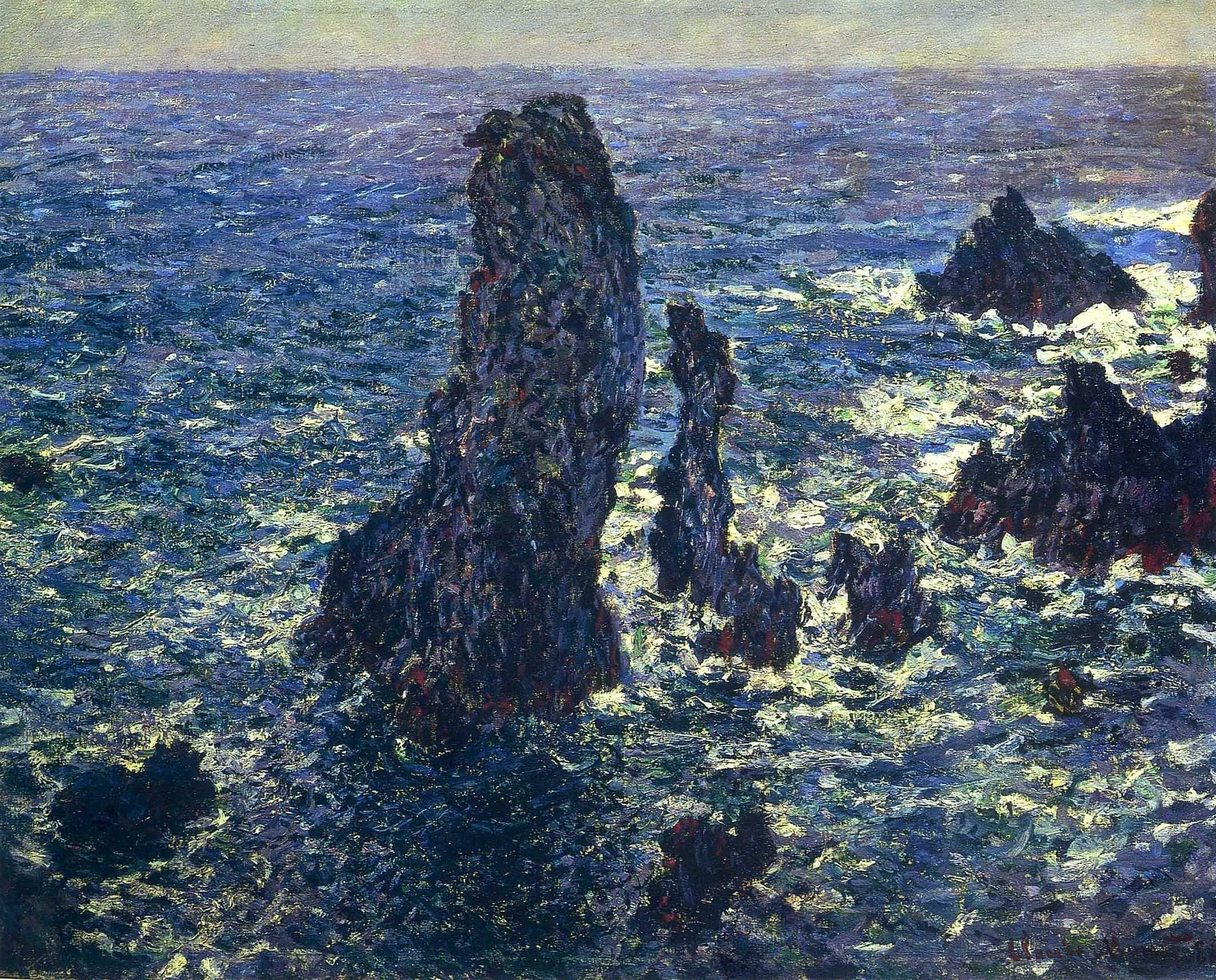 The Pyramids, Cliffs at Belle-Ile, Monet
