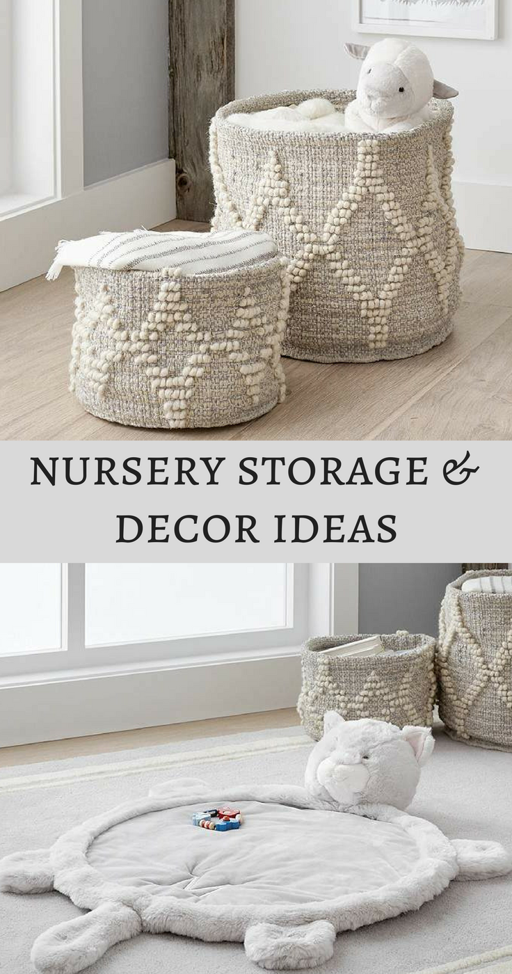 Neutral wool storage baskets and fur playmat for neutral nursery ...