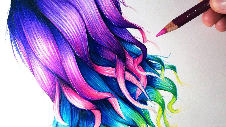 How To Draw Rainbow Coloured Hair Youtube Anime Hair Color Drawing Hair Tutorial Hair Sketch