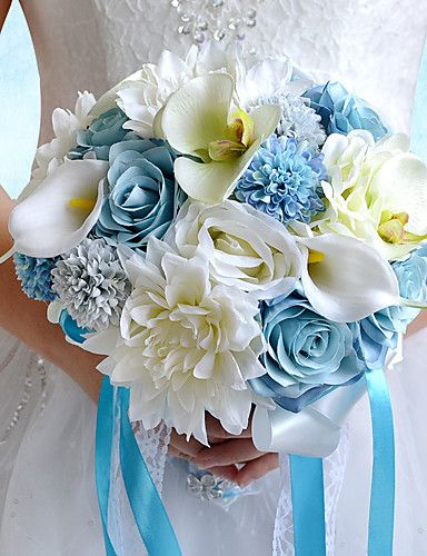 37 99 Wedding Flowers Bouquets Wedding Party Evening Taffeta Spandex Dried Flower 11 02 Approx 28cm Artificial Flowers Wedding Silk Flowers Wedding Bridal Bouquet Blue