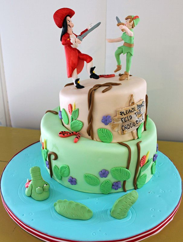 Super Peter Pan And Captain Hook With Images Peter Pan Cakes Peter Personalised Birthday Cards Arneslily Jamesorg