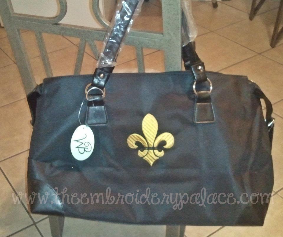 Customer Photos- Black weekender bag with fleur de lis $25.00
