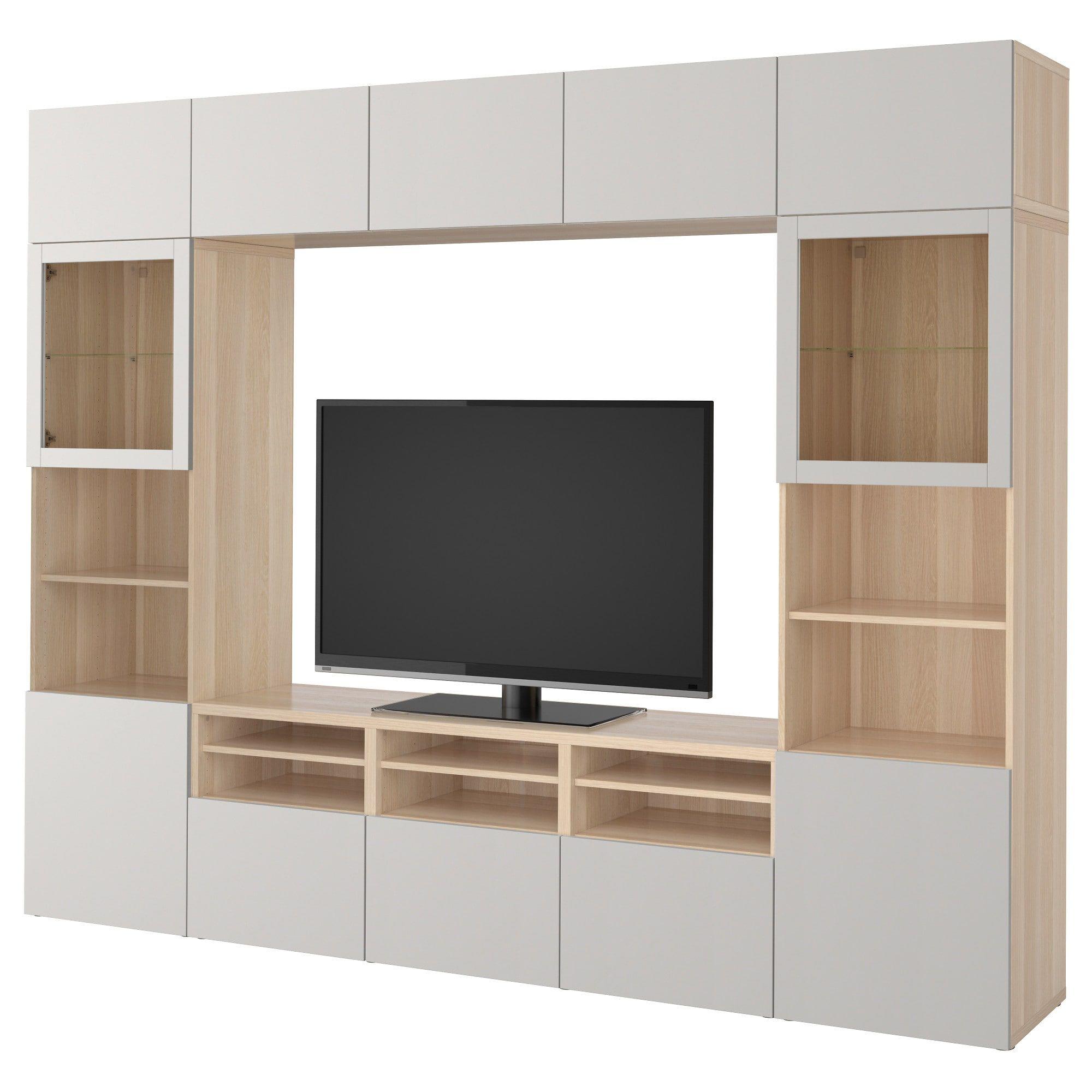 Besta Tv Storage Combination Glass Doors White Stained Oak Effect