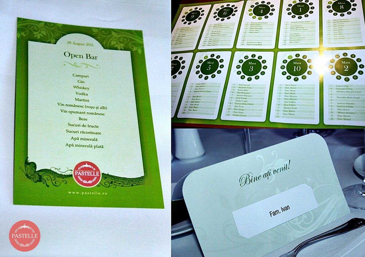 personalized wedding menu, place card and table setting