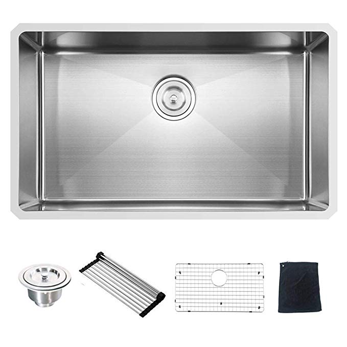 Commercial 32 Inch 16 Gauge 10 Inch Deep Undermount Single Bowl Stainless Steel Kitchen Sink Amazon Com Drop In Kitchen Sink Kitchen Sink Sink