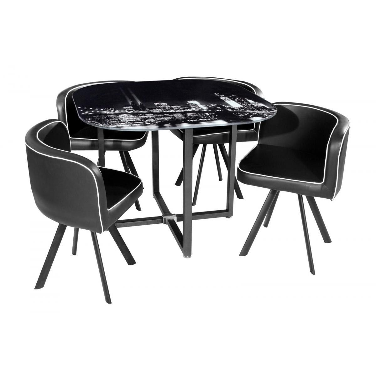 Conjunto mesa 4 sillas brooklyn en conforama cosas que - Table de chevet new york ...