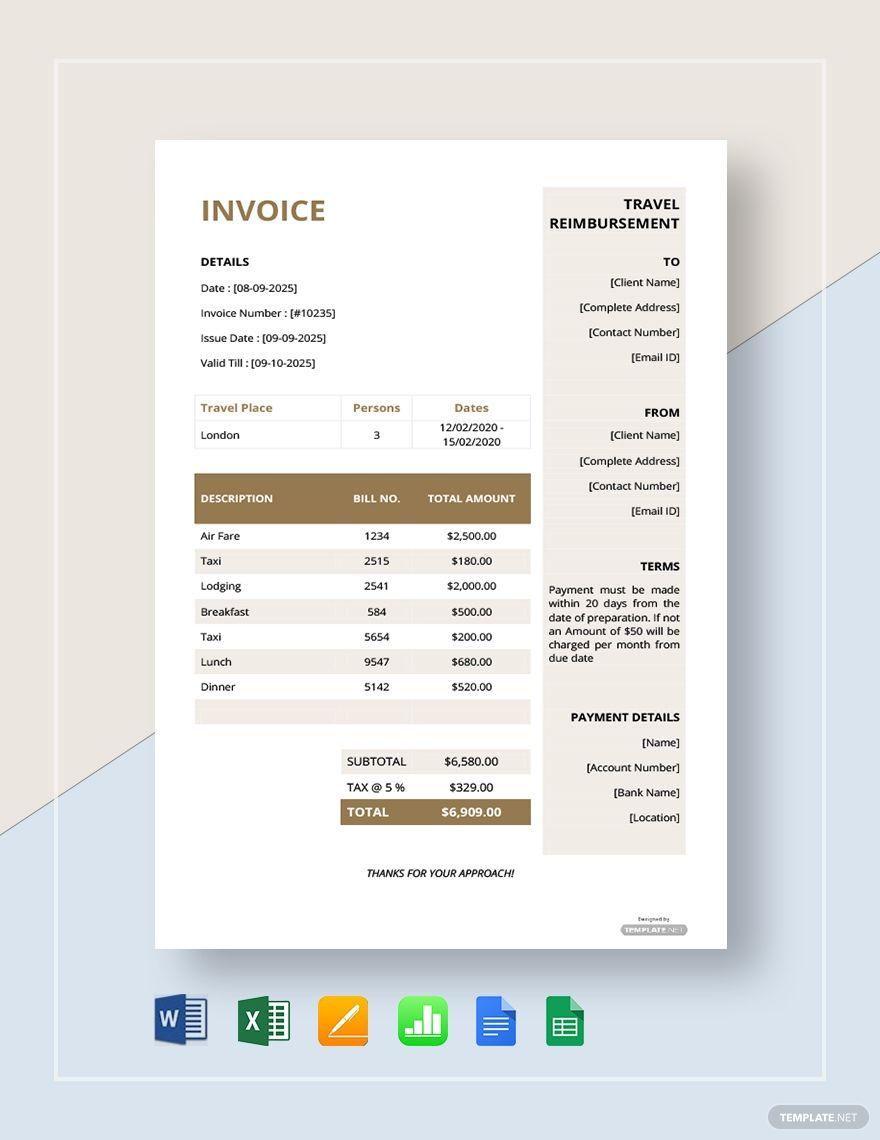 Free Travel Reimbursement Invoice Template Google Docs Google Sheets Excel Word Template Net Invoice Template Word Template Website Template Design