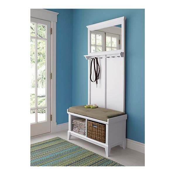 Crate U0026 Barrel Paterson White Storage Bench With Wheat Cushion And Panel  $548
