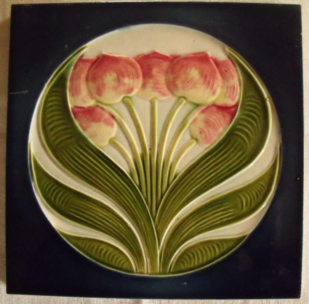 Art nouveau jugendstil tulips antique tile tiles pinterest here is a wonderful art nouveau jugendstil ceramic tile with a raised tulips motif in pink greens and blue made in germany by muegeln dailygadgetfo Images